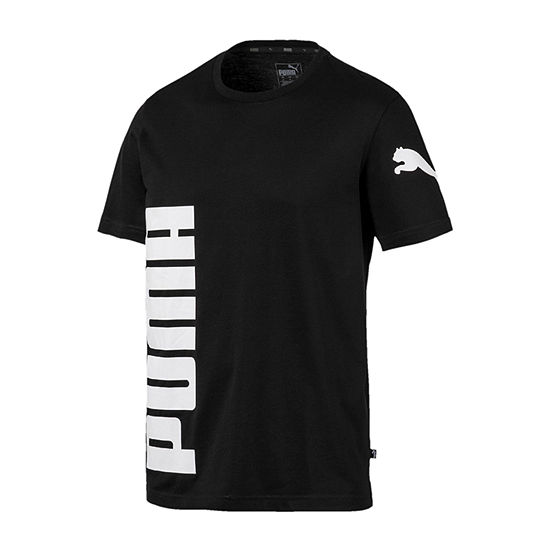 Puma Big Logo Mens Crew Neck Short Sleeve Moisture Wicking T-Shirt