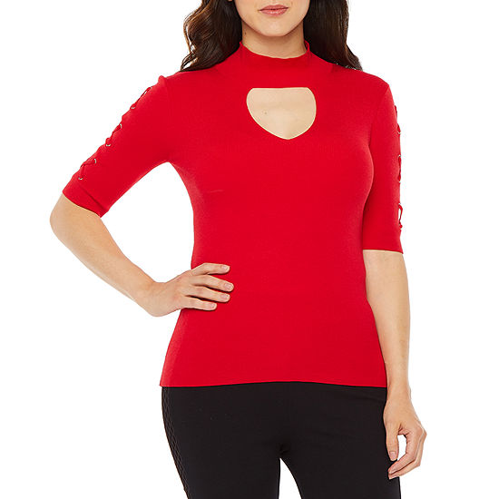 Bold Elements Womens Keyhole Neck Elbow Sleeve Pullover Sweater