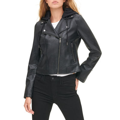 Levi's Faux Leather Hooded Water Resistant Midweight Motorcycle Jacket