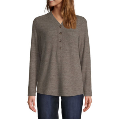 St. John's Bay Womens Y Neck Long Sleeve Henley Shirt