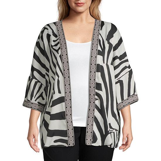 Worthington Womens Open Neck Long Sleeve Kimono-Plus