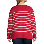 Liz Claiborne Long Sleeve Stripe Sweater - Plus