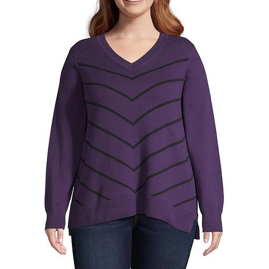 Liz Claiborne Long Sleeve Chevron Sweater - Plus