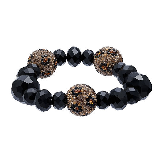 Mixit Animal Print  Pave Ball 7 Inch Stretch Bracelet