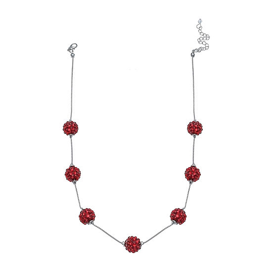 Mixit Red Glitter Ball Beaded Necklace