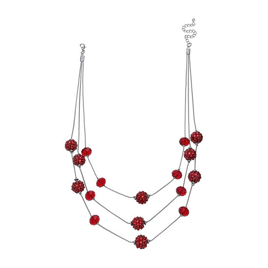 Mixit Red Glitter Ball Illusion Necklace