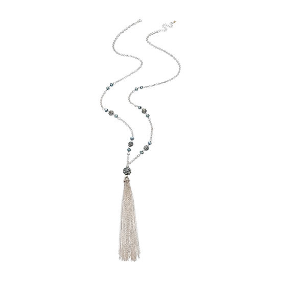 Mixit Glitter Ball Tassel 37 Inch Y Necklace