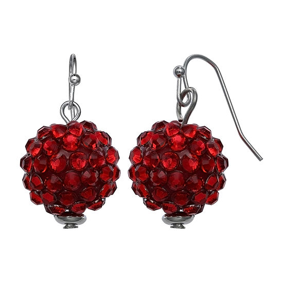 Mixit Glitter Ball Red Drop Earrings