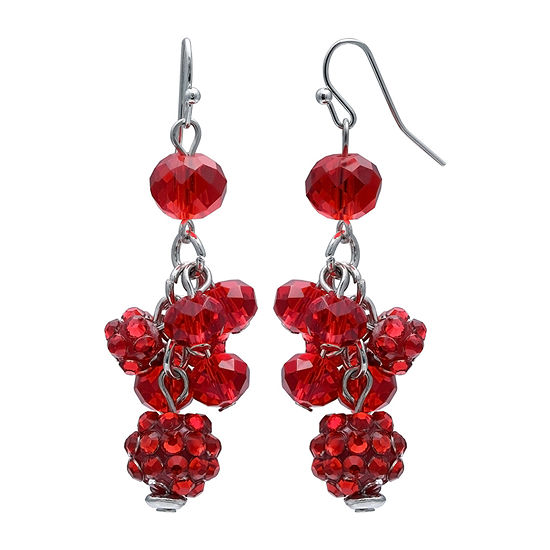 Mixit Glitter Ball Cluster Red Drop Earrings