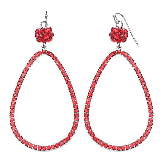 Mixit Glitter Ball Teardrop Red Drop Earrings