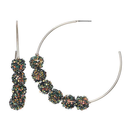 Mixit Green Glitter Ball Hoop Earrings
