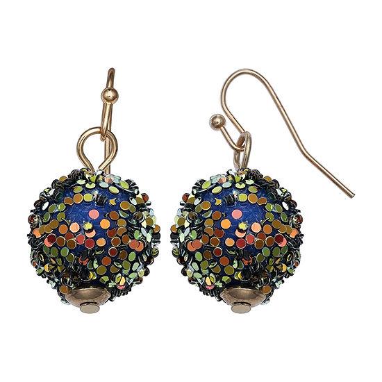 Mixit Green Glitter Ball Drop Earrings