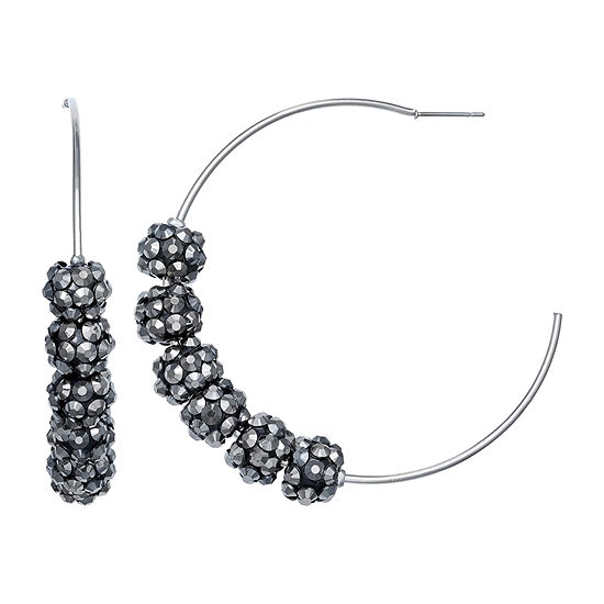 Mixit Glitter Ball Hoop Earrings