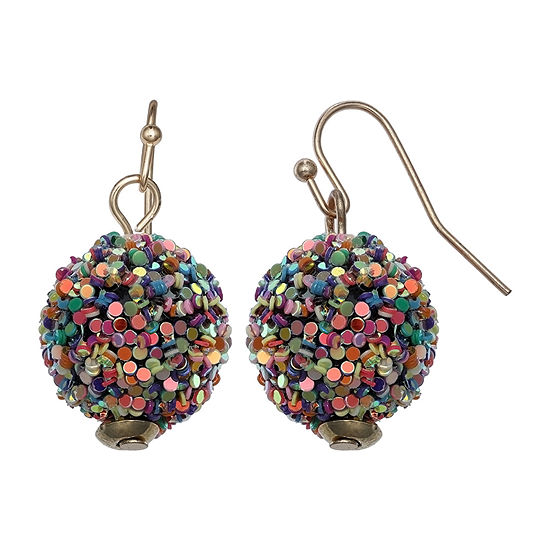 Mixit Glitter Ball Drop Earrings