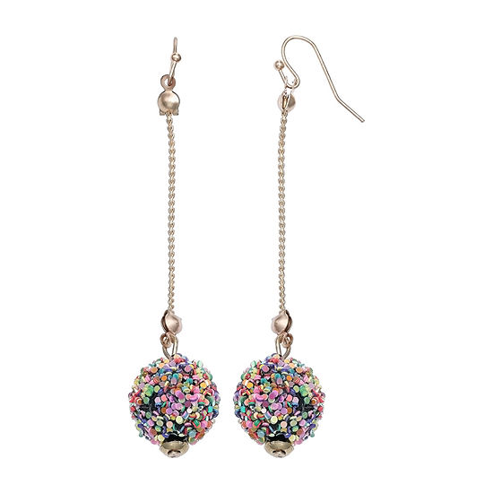 Mixit Threader Glitter Ball Drop Earrings