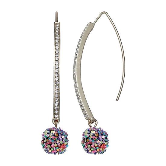 Mixit Threader Glitter Ball Drop Earrings