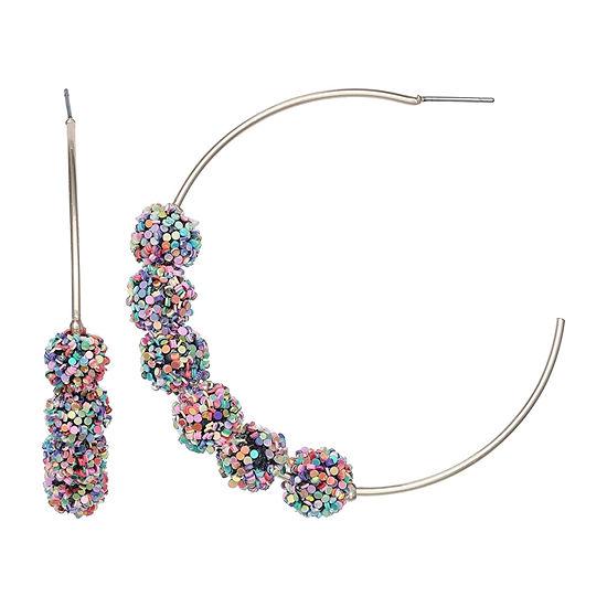 Mixit Glitter Ball Hoop Earrings