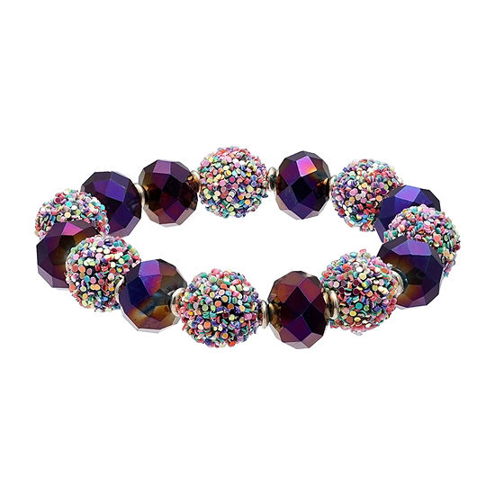 Mixit Glitter Ball Purple 7 Inch Stretch Bracelet