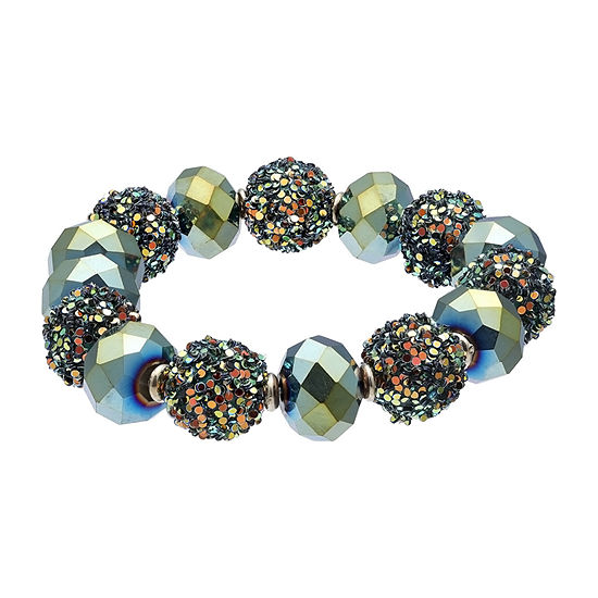 Mixit Glitter Ball Green 7 Inch Stretch Bracelet