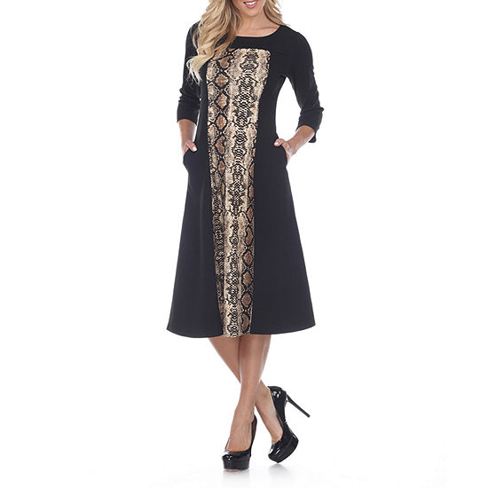 White Mark 3/4 Sleeve Animal Fit & Flare Dress