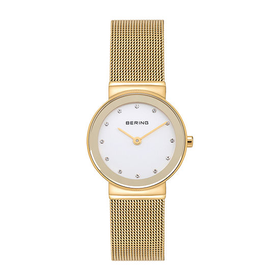 Bering Womens Crystal Accent Gold Tone Stainless Steel Bracelet Watch-10126-334