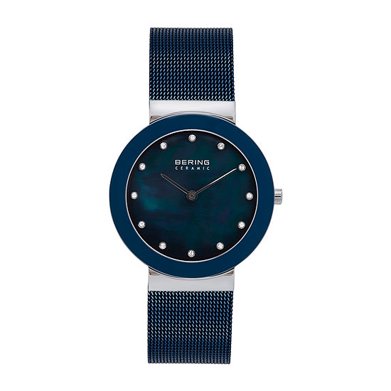 Bering Womens Crystal Accent Blue Stainless Steel Bracelet Watch-11435-387