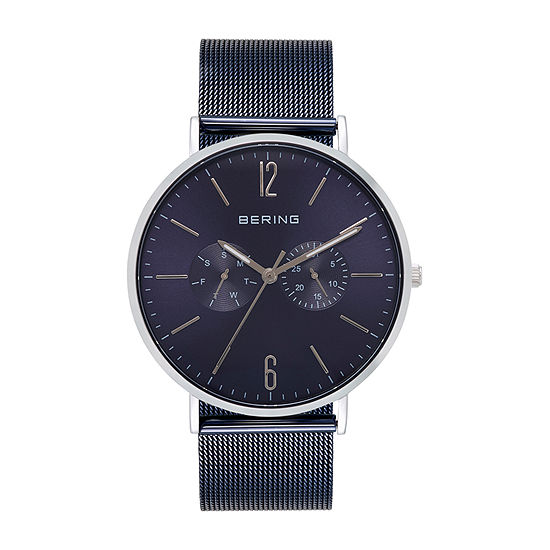 Bering Mens Multi-Function Blue Stainless Steel Bracelet Watch - 14240-303