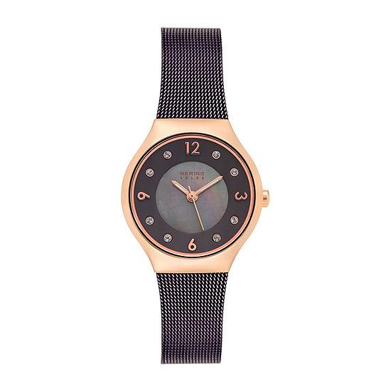 Bering Womens Brown Stainless Steel Bracelet Watch-14427-265