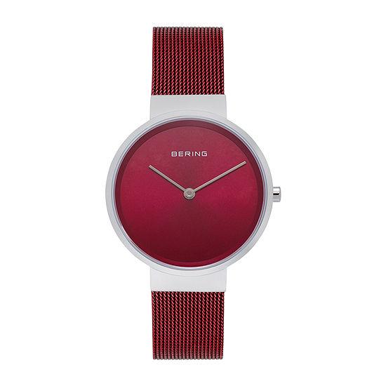 Bering Mesh Womens Red Stainless Steel Bracelet Watch-14531-303