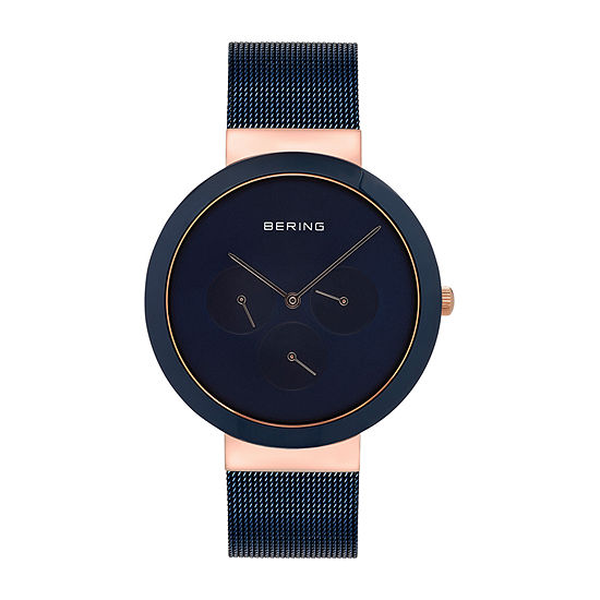 Bering Mens Blue Stainless Steel Bracelet Watch - 35040-367