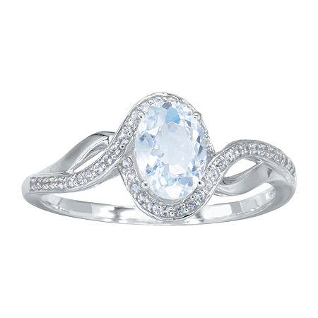 Womens Genuine Blue Aquamarine 10K White Gold Cocktail Ring, 8 , No Color Family