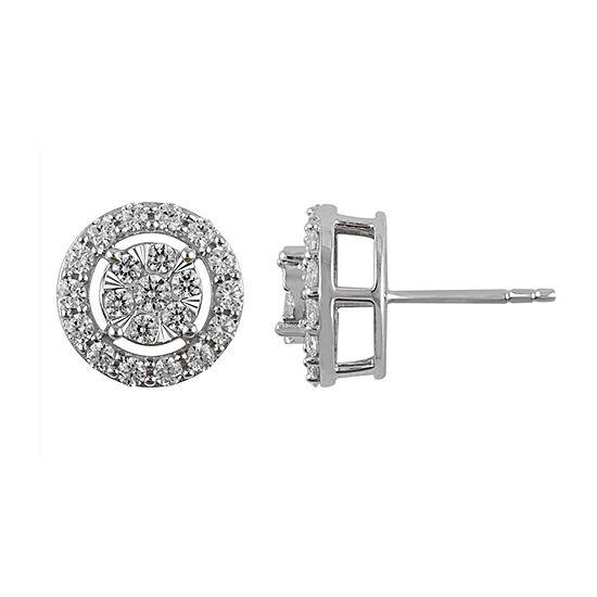 1 CT. T.W. Genuine Diamond 10K White Gold 10.9mm Stud Earrings