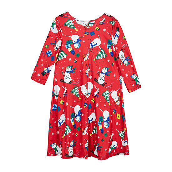 by&by girl Girls Long Sleeve Drop Shoulder Sleeve Holiday A-Line Dress - Big Kid