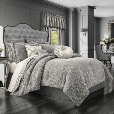 Queen Street Mason 4-pc. Damask + Scroll Heavyweight Comforter Set