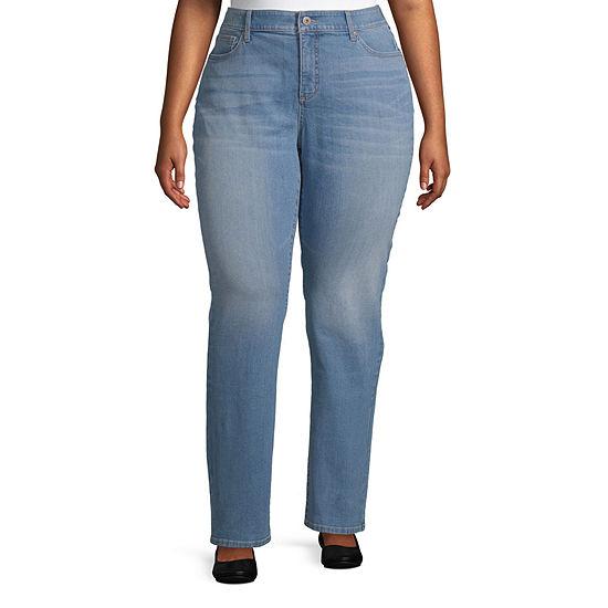 St. John's Bay Womens Mid Rise Straight Leg Jean - Plus