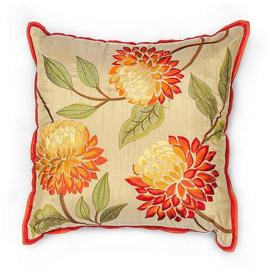 Kas Chrysanthemum Square Throw Pillow