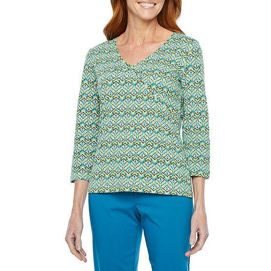 Hearts Of Palm Global Soul-Womens V Neck 3/4 Sleeve T-Shirt
