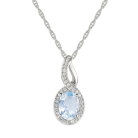 Womens Genuine Blue Aquamarine 10K Gold Pendant