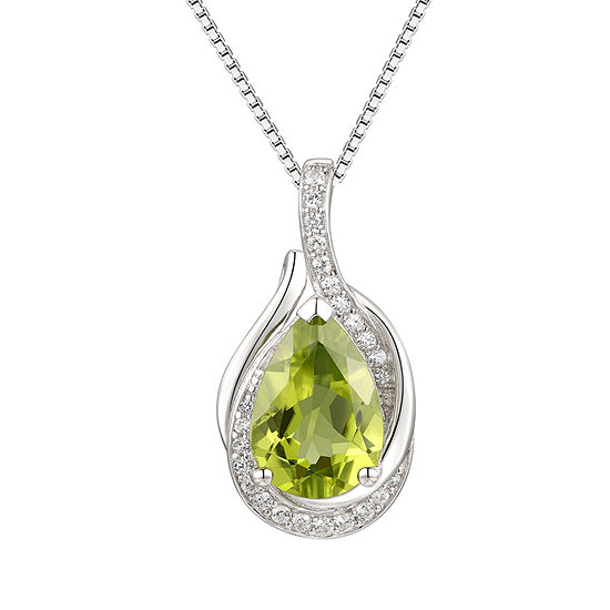 Womens Genuine Green Peridot Sterling Silver Pendant