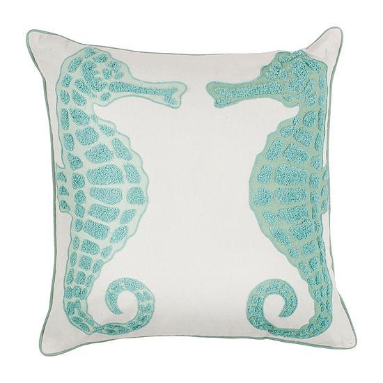 Kas Seahorse Square Throw Pillow
