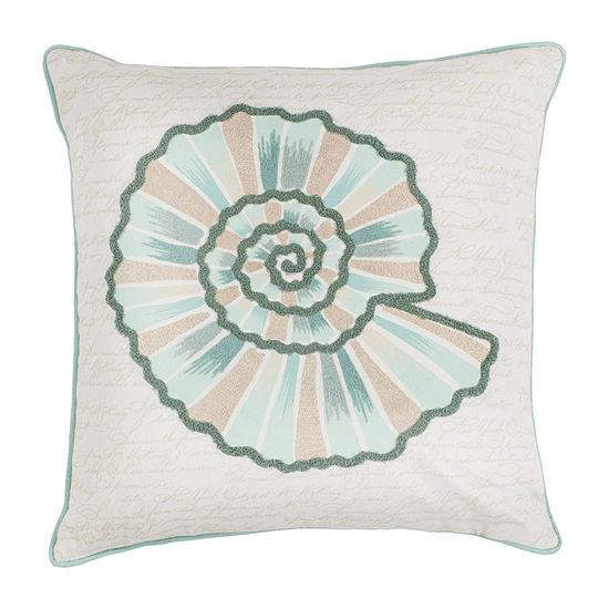 Kas Seashell Square Throw Pillow