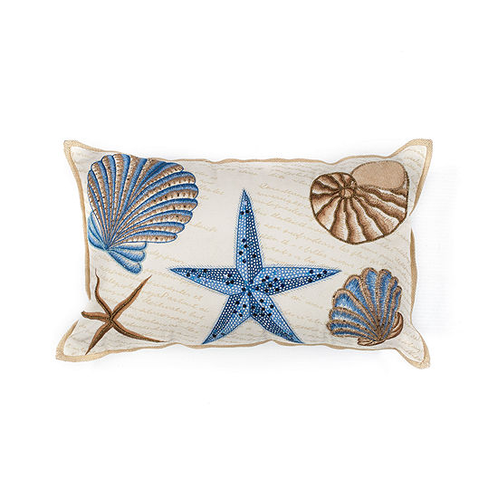 Kas Seashells Rectangular Throw Pillow