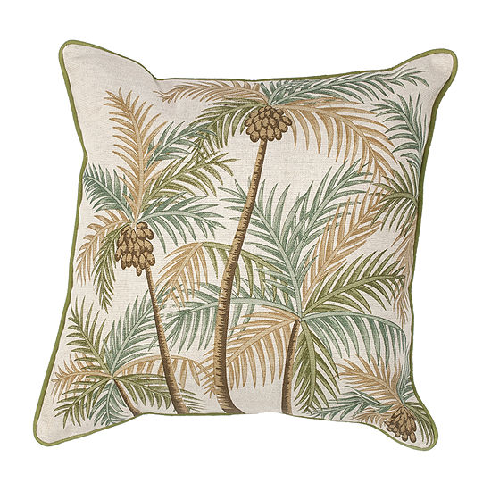 Kas Palm Trees Square Throw Pillow