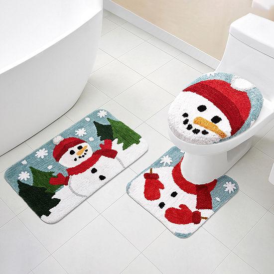 London Underground Holiday Snowman 3-pc. Bath Rug Set