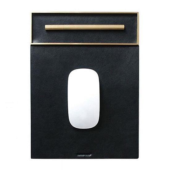 Russell + Hazel Vegan Leather/Brass Mousepad Black