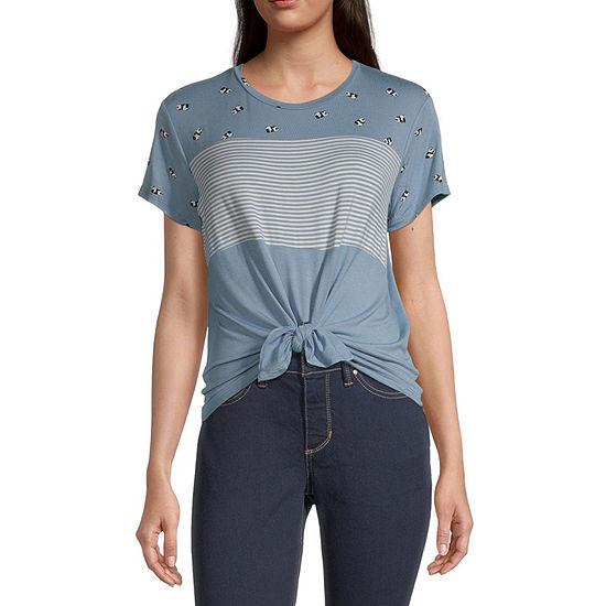Self Esteem Juniors-Womens Crew Neck Short Sleeve T-Shirt
