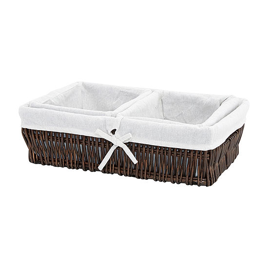 Baum Set Of 3-pc.Lined Espresso Willow Basket