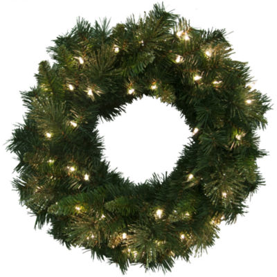 "24"" Pre-Lit Glitter-Tipped Golden Pine Wreath"
