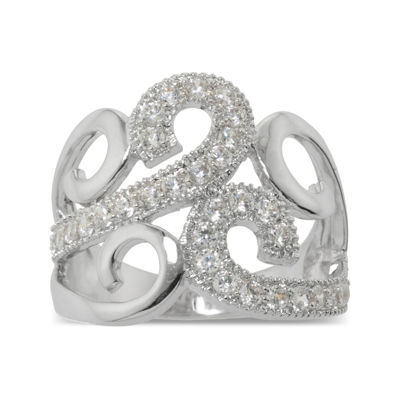Silver-Plated Crystal Swirl Ring
