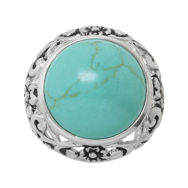 Simulated Round Turquoise Filigree Ring
